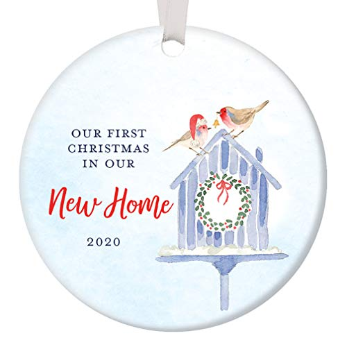 First Christmas In Our New Home 2020 Housewarming Party 1st Time New House Homeowners Present Cute Bird Couple Ceramic Holiday Keepsake Present 3 Flat Porcelain with White Ribbon & Free Gift Box