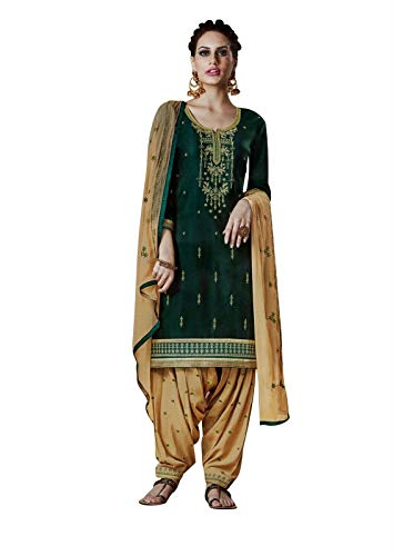 Ladyline Cotton Embroidered Patiala Salwar Kameez with Chiffon Dupatta Indian Women's Dress (Size_50/ Bottle Green) - Green Salwar Kameez
