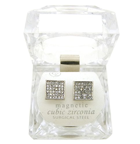 Gold, Silver Tone 8.9 mm Rhinestone Filled Square Shape Magnetic Stud Earring XE1141 (Silver Color (1 Pair))