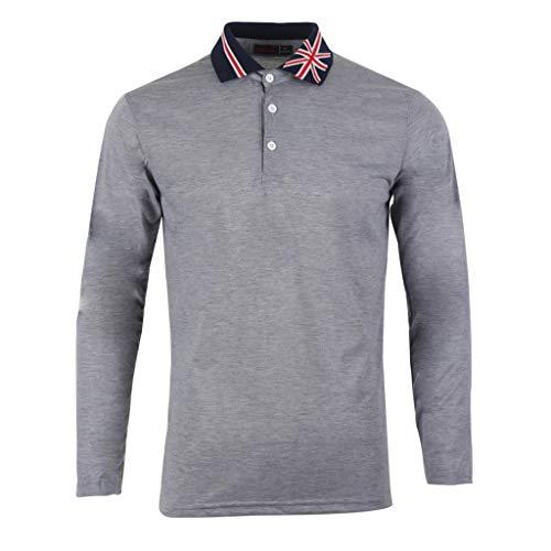 (Gallity Men's Top Autumn Winner Flag Collar Short Sleeve T-Shirt Pullover Blouse (XL,)