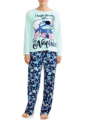 Women's Lilo and Stitch Super Minky Plush 2-Piece Pajama Set (Large 12-14, Teal Stitch)