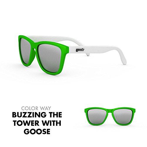 goodr RUNNING SUNGLASSES - (Green & White w/ Chrome - Sunglasses Glare That Block