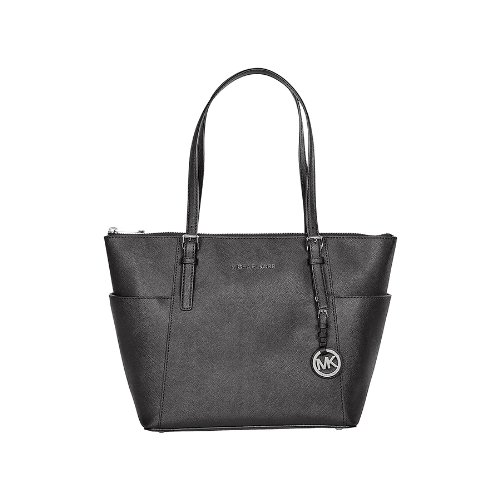 Michael Kors Jet Set Black Saffiano Leather Zip-Top Tote by MICHAEL Michael Kors