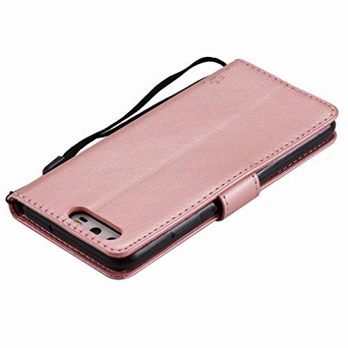 Yiizy Huawei P10 Custodia Cover, Albero e Gatti Goffratura Design Sottile Flip Portafoglio PU Pelle Cuoio Copertura Shell Case Slot Schede Cavalletto Stile Libro Bumper Protettivo Borsa (Oro Rosa)