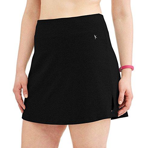 Danskin Now Women's Plus Size Activewear Athletic Cotton Blend Skort/Skirt with Built in Shorts (Black, 1X (16W)) by Danskin Now Plus