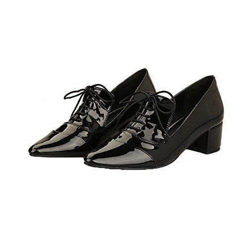 Lace Kitten Toe Shoes Black Heels Women's Court up Soild VogueZone009 Closed qxtwEYTqH