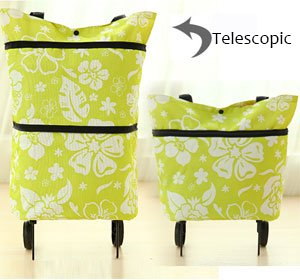 Shopping Trolley Luggage Bag With Wheels (Black) - 8