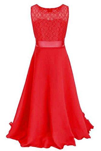 (YMING Kids Casual Chiffon Lace Maxi Dress Bridesmaid Dress Red 12-13)