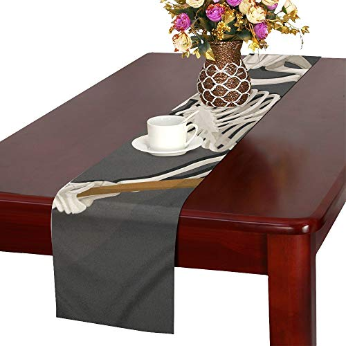 WUTMVING Death Skeleton Scythe Halloween Party Invitation Table Runner, Kitchen Dining Table Runner 16 X 72 Inch for Dinner Parties, Events, Decor