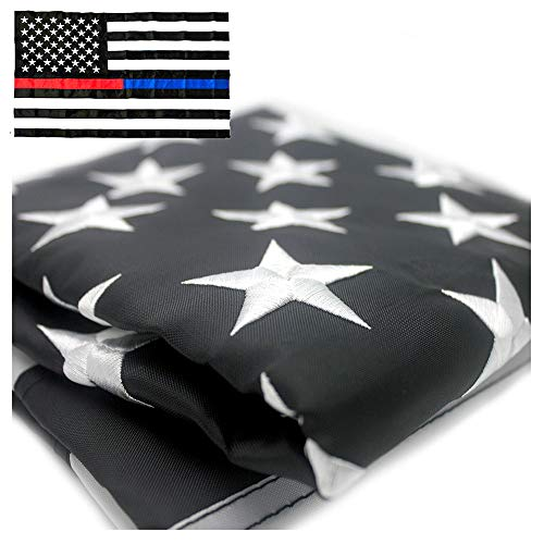 VSVO Thin Blue Line Police and Thin Red Line Flag 3x5 ft with Embroidered Stars - Sewn Stripes - Brass Grommets - UV Protection - Honor The Men and Women of Law Enforcement American Flag