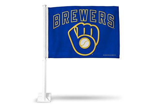 MLB Milwaukee Brewers Ball & Glove Car Flag (Mlb Brewers Milwaukee Car)