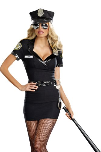 Dreamgirl Women's Dirty Cop Officer Anita Bribe Costume, Black, (Lady Cop Costumes)