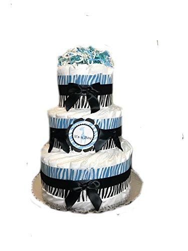 Three Tier Diaper Cake (Sweet Safari Baby Shower Diaper Cake (3 Tier, Blue))