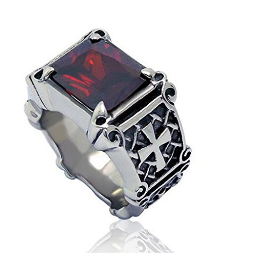 Mens Womens Stainless Steel Rings Retro Synthetic Ruby Cross Black & Red Size 6 - Adisaer Jewelry