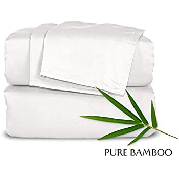Pure Bamboo Sheets - King Size Bed Sheets 4-pc Set - 100% Organic Bamboo - Incredibly Soft - Fits Up to 16