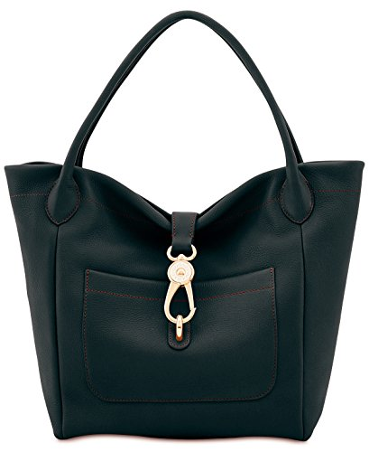 Dooney & Bourke Belvedere Logo Lock Tote (Black) (Dooney And Bourke Hobo Bag)