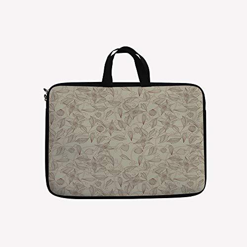 3D Printed Double Zipper Laptop Bag,Unusual Floral Patterns