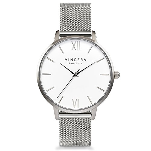 Vincero Luxury Women's Eros Wrist Watch - Silver + White dial with a Silver Mesh Watch Band - 38mm Analog Watch - Japanese Quartz Movement by Vincero