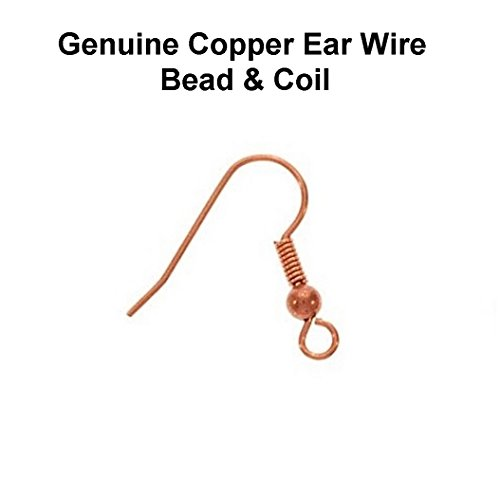 Genuine Copper 18 MM Ear Wire with 3 MM Bead & Coil/Pack of 50