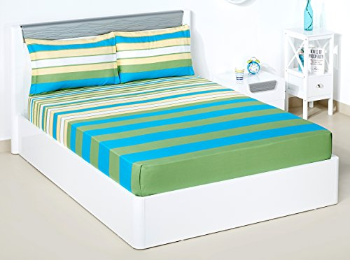 Solimo Spectra Stripe 180 TC 100% Cotton Double Bedsheet with 2 Complimentary Pillow Covers – Green