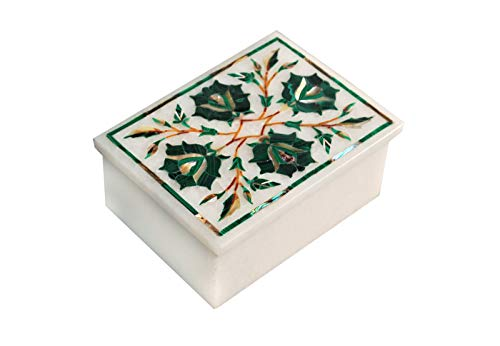 rkhandicrafts Marble Jewelry Box Bedside Cosmetic & Watch Box Inlay Work Malachite Stone Trinket Box Birthday Gift for Men & Women 4 x 3 Inches from rkhandicrafts
