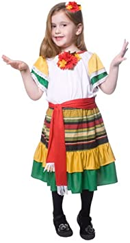 Dress Up America - Bailarina mexicana, disfraz talla L, 12-14 años ...