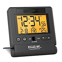 Marathon Atomic Travel Alarm Clock with Auto Back Light Feature, Calendar and Temperature. Folds into One Compact Unit for Travel. Batteries Included. Color-Black Velvet. SKU-CL030036BK