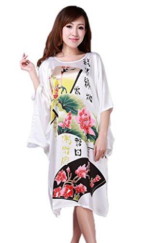 Bigood Peignoir Femme Satin Kimonos Pyjama Lâche Chemise de Nuit Chambre