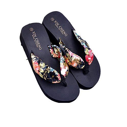 Morchan Tongs Bohemia Femmes Plate Floral Sandals Forme Beach Noir Pantoufles Compensée FrFCwOxq