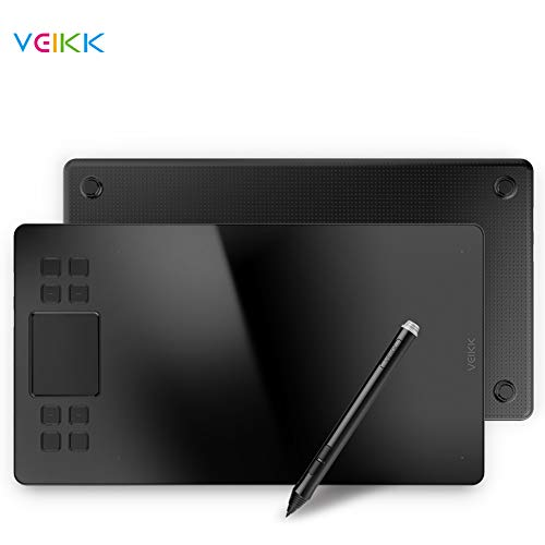 VEIKK A50 Graphics Drawing Pen Tablet 10x6 inch Active Area,Smart Gesture Touch and 8 Express Keys,with 8192 Levels Battery-Free Pen