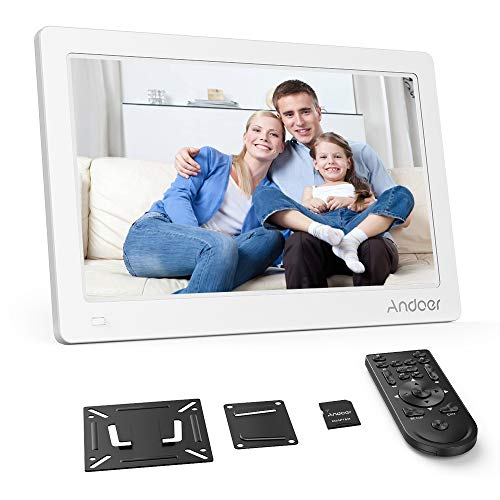 """Andoer Digital Photo Frame 13"""" HD 1920X1080 IPS Screen Support Calendar/Clock/MP3/Photos/1080P Video Player with VESA Wall Mounting Bracket, 8GB Memory Card, Remote Control (White)"""