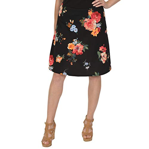 Stretch is Comfort Women's A-Line Skirt Multi Floral Black Medium