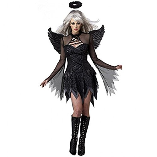 Angels Mesh Costumes (Halloween Costume For Women Dark Angel Cosplay For Girls Black Fallen Angel Dresses Party costume Suits)