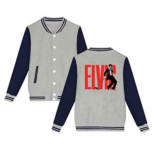 Elvis Aaron Presley Mens & Womens Vintage Hoodie Baseball Uniform Jacket Sport Coat Gray