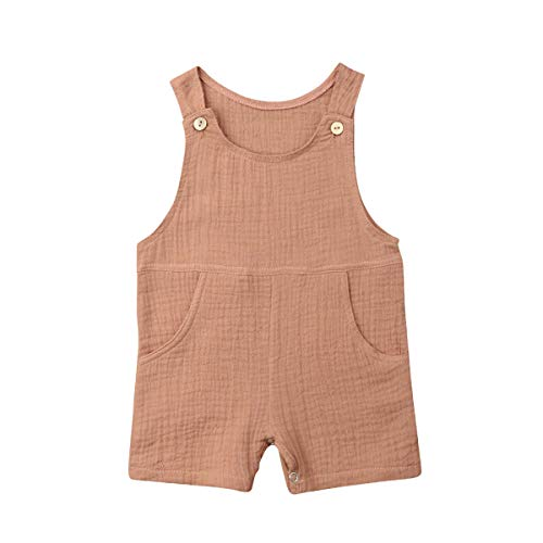 xueliangdedianpu Newborn Toddler Baby Pocket Cotton Seersucker Romper Overalls Jumpsuit Bodysuit Sunsuit Summer Outfits 0-24M (Brown, 0-6 Months) ()