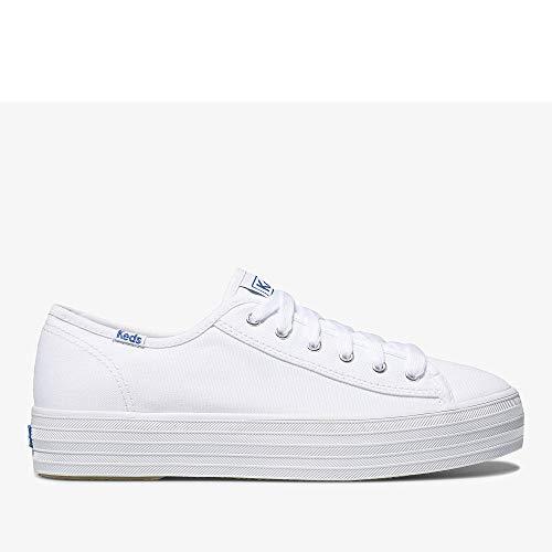 Keds Women's Triple Kick Canvas Fashion Sneaker,White,10 M US
