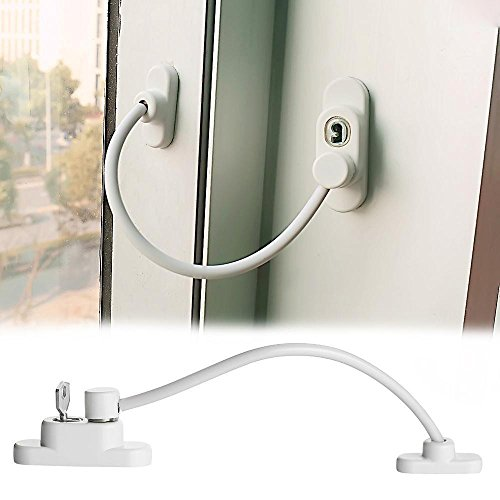 Flurries Window Sliding Door Lock with Screws Key - Protection Lockable Opening Restrictor - Catch Wire Cable Lock Buckle - Child-Proof Pet-Proof Anti-Theft Security Guard for Baby Kids Safety (White) (Upvc Patio Locks Doors Sliding)