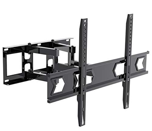 (YSLMOUNT TV Wall Mount Bracket Full Motion Dual Articulating Arm for Most 32-70 Inch LED, LCD, OLED, Flat Screen, Plasma TVs up to 99lbs VESA 600×400 with Tilt, Swivel and Rotation )