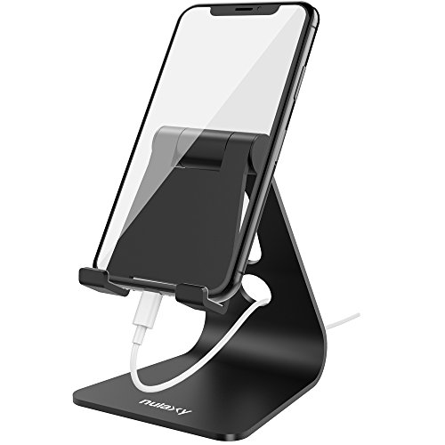 Nulaxy Adjustable Phone Stand, Multi-Angle Cell Phone Holder, Cradle, Dock, Stand Compatible with iPhone Xs/XR/XS Max/X 8 7 6 6S Plus 5 5S 5C, All Android Smartphones, Universal Phone Stand - Black