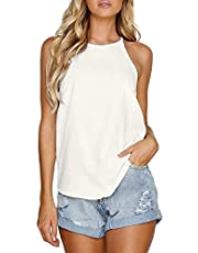 YYW Womens Shirts Halter Neck Racerback Tank Top Summer Beach Blouses Casual Cami Tops Tee Basic Tee Shirts