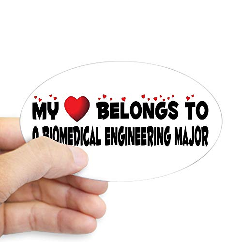 CafePress Belongs to A Biomedical Engineering Major Sticker Oval Bumper Sticker, Euro Oval Car Decal