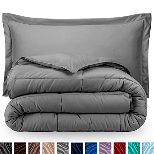 Sham Comforter - Bare Home Comforter Set - Full/Queen - Goose Down Alternative - Ultra-Soft - Premium 1800 Series - Hypoallergenic - All Season Breathable Warmth (Full/Queen, Light Grey)