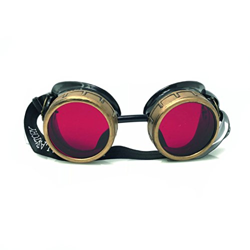 UMBRELLALABORATORY Steampunk Victorian Style Goggles with Compass Design and Ruby Red ()