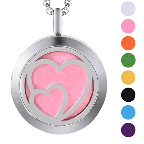 Double Heart Essential Oil Diffuser Locket Stainless Steel Necklace With 8 Refill Pads (25mm Silver Heart)