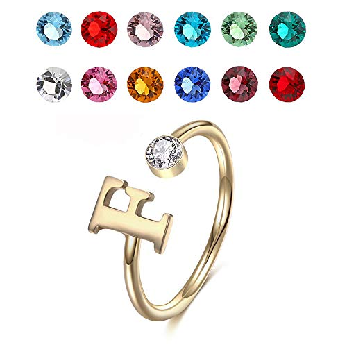 925 Sterling Silver Personalized Initial Name Ring with Simulated Birthstone Cusotm Initial Alphabet Letter Adjustable Size Stackable CZ End Wrap Open Ring (Gold)