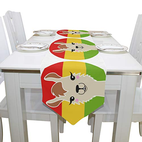 WIHVE Table Runners 13 x 70 Inch Funny Llama with Red Yellow Green Flag Rectangle Polyester Double Sided Long Tablerunner Cover for Kitchen Dining Wedding Party Holiday Home Decor