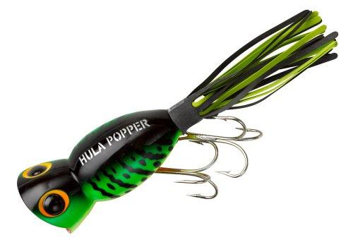 Arbogast Hula Popper - Fire Tiger - Black/Chartreuse Skirt - 2 1/4