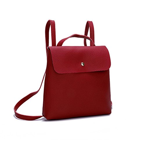 Girl Bag Backpack BCDshop Faux Leather Red Small Daypack School Fashion Gift Women Shoulder vv8xXOB