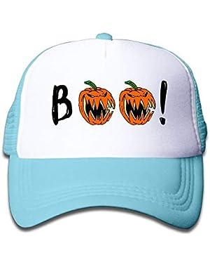 Halloween Pumpkin Boo On Boys and Girls Trucker Hat, Youth Toddler Mesh Hats Baseball Cap