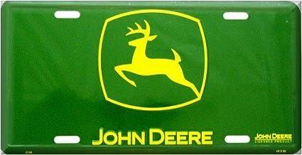 John Deere License Plate Tag Green Yellow